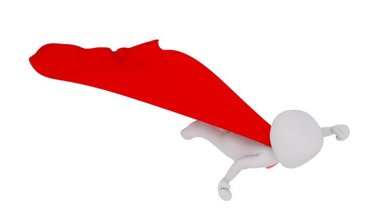 Selbstbewusstsein für Selbstständige – dargestellt durch eine kleine Figur mit rotem Cape